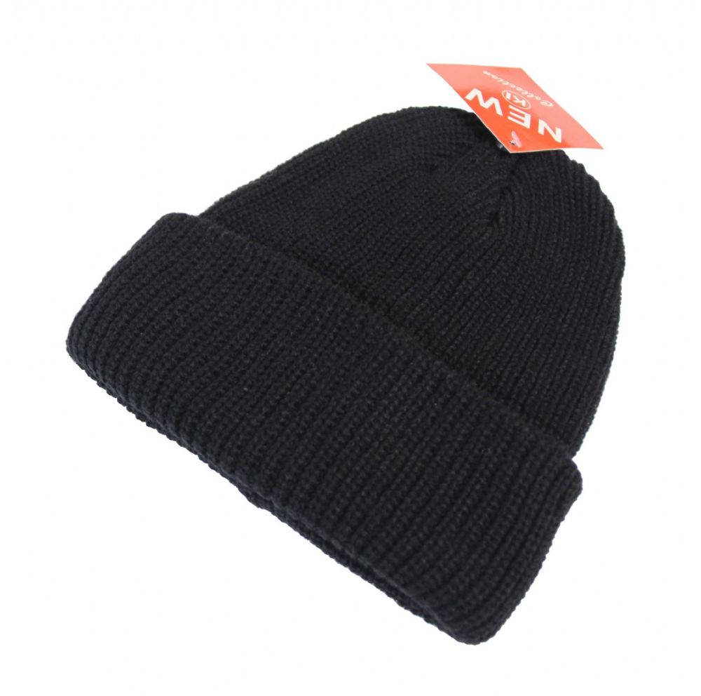 S34-HT5120 Black Boys beanie trunup hat unisex winter black beanie hat